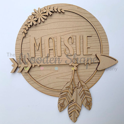 Layered Tribal Boho Circle Arrow  with Name & Floral
