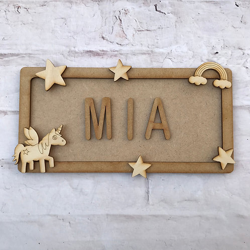 Unicorn Theme Room Sign Small (up to 6 letters)