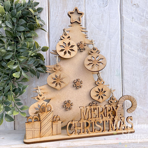 MDF Christmas Tree Stand Craft Kit with Hanging Decorations