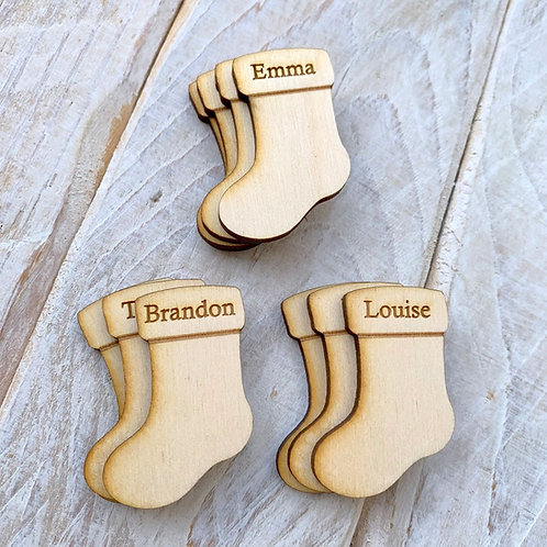 Engraved Plywood Christmas Stocking Tags