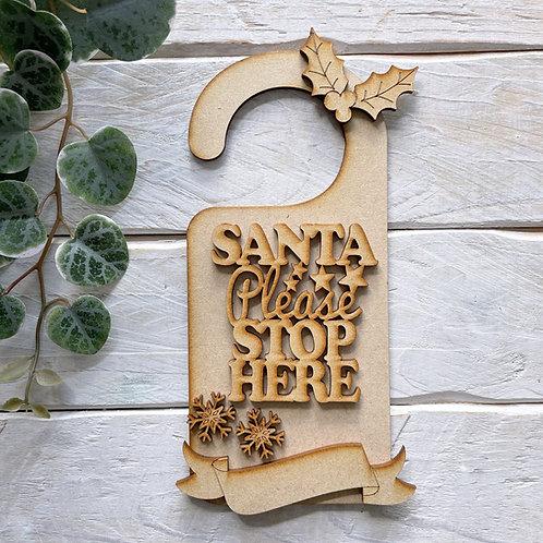 Door Hanger Layered Santa Please Stop Here Hook