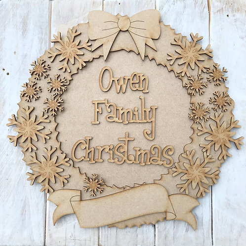 MDF Christmas Wreath Layered Kit Snowflakes