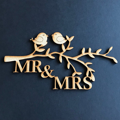 MDF Tree Branch Love Birds with Wording