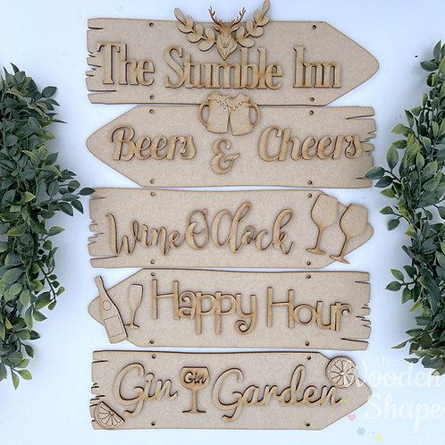 Bar Theme Direction Sign