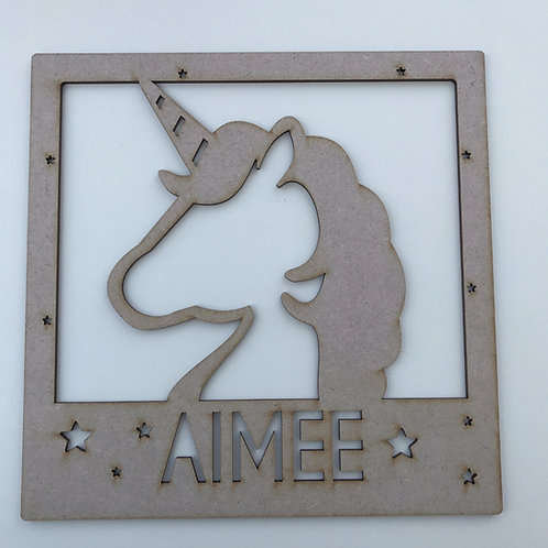 MDF Unicorn Square Frame Unicorn Head & Name