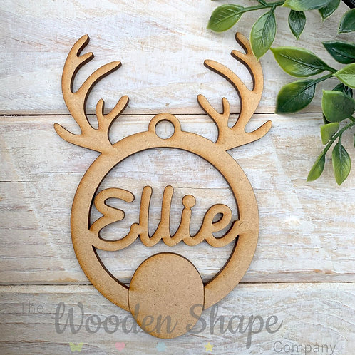 MDF Personalised Bauble Antler