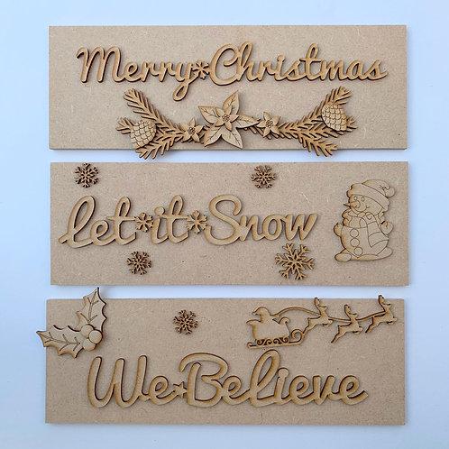 Set of 3 Christmas Signs 3mm Back