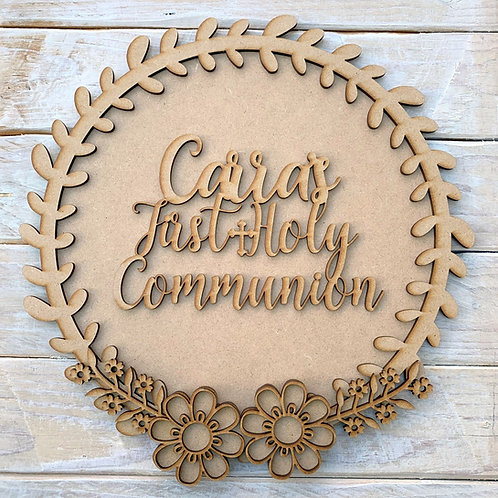 Laurel 1 Layered Hoop Kit Backboard with First Holy Communion Personalised