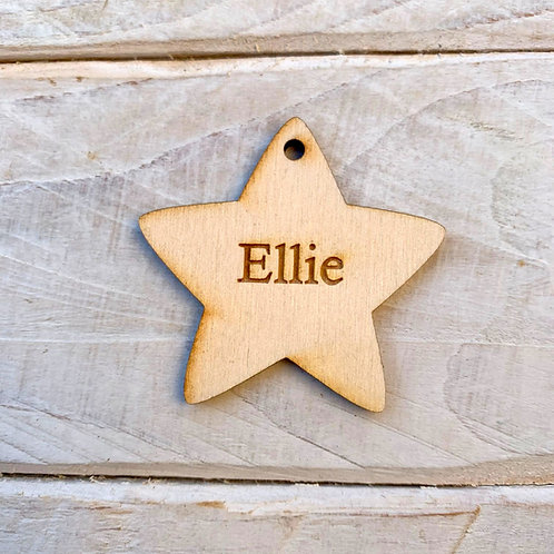 5cm Engraved Plywood Star with Hole