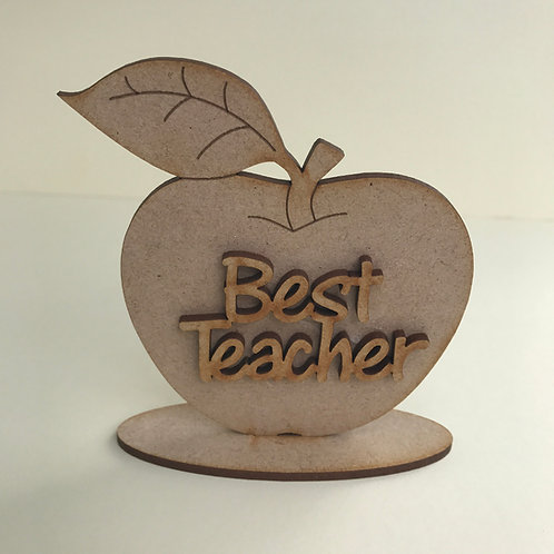 MDF Apple on Stand with Wording