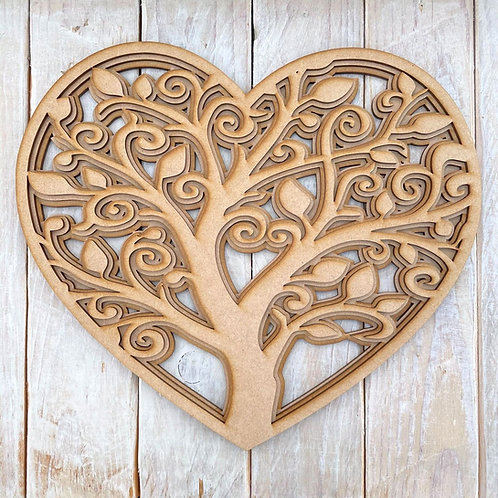 Multi Layered MDF Family Tree Heart Kit
