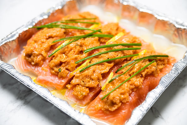 Lobster Crusted Salmon in a Lemon and White Wine Sauce