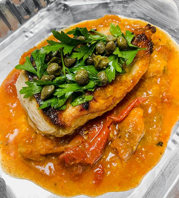 Chicken Breast With a Tomato, Garlic and Caper Sauce