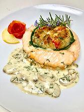 Crab Stuffed Salmon  with a Creamy White Wine Sauce