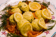 Sole Fish Balls in a Lemon and Saffron Sauce