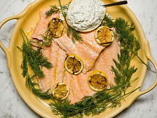 Slow Baked Salmon with an Herb Infused Cream Dressing