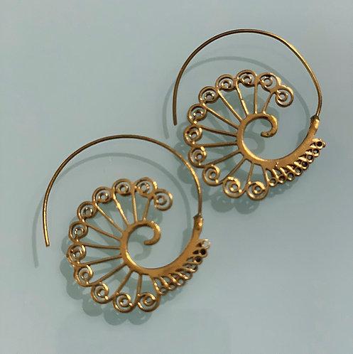 Peacock Brass Earrings