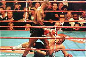 After losing most of the rounds, Tyson landed the equalising right hand.