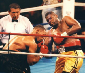 Tyson was surprisingly being pushed back by Buster Mathis Junior