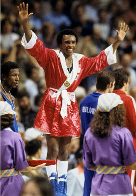 Sugar Ray Leonard taking light-welterweight gold at the Montreal 1976 Olympic Games