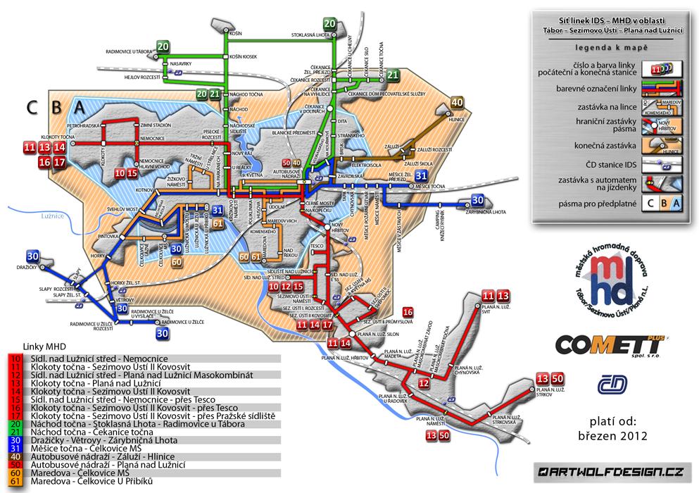 MHD ids tabor mapa design grafika artwolfdesign