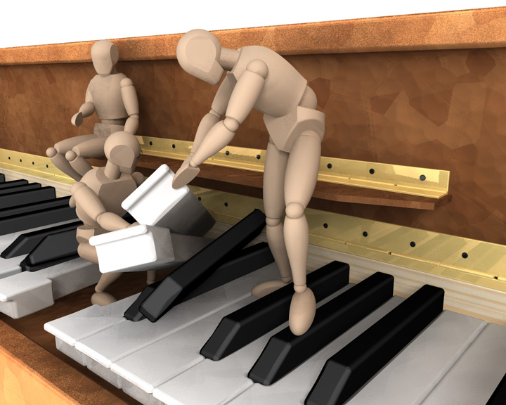 hnědý klavír