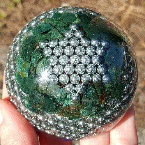 Dome  Large EMF Balance Jade, Aventurine and Moos Agate