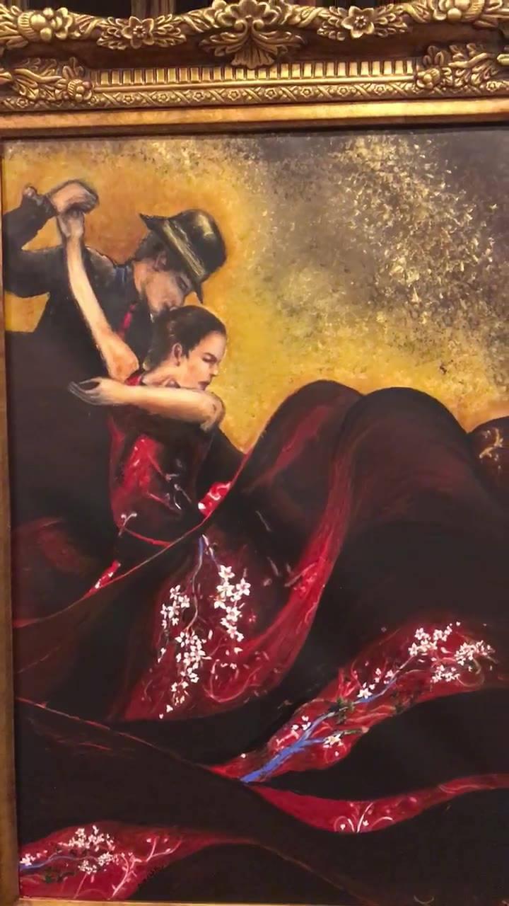"""بابتسامتها النابعة من القلب و  بريق عينيها قالت لي : رنا!! استمعي ل ماجدة الرومي """" يسمعني حين يراقصني"""" و ارسمي لي لوحة !  و هكذا كان و هكذا رقصنا يا عزيزتي  شكرًا لثقتك بي و ب  داماسك  قطعة أُخرى من الروح تذهب إلى عائلة جميلة في ديترويت - الولايات ال"""