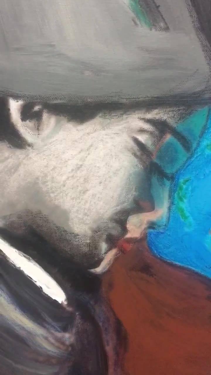 2018 here I come  100x100 cm Mix media on canvas  Acrylics with oil pastels  Rana loutfi  2018  حامل و محمول و تفاحة ... ثالوث أقدسْ ... من صُلب الآب ... يدورون كلٌّ في فلك الآخر و مكتوبٌ ألّا يدركوا بعضهم ... يتماهى كلٌّ منهم  في تفاصيل الآخر ... تف