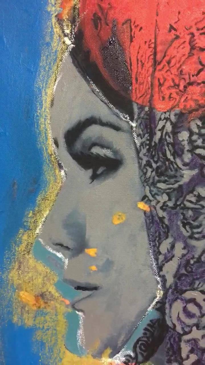 100x100cm  Mix media acrylics with oil pastels on canvas  Rana loutfi  2018 The song يا ساحر المقلتين و الجيد The singer Nermin Shawki  من مسلسل هارون الرشيد