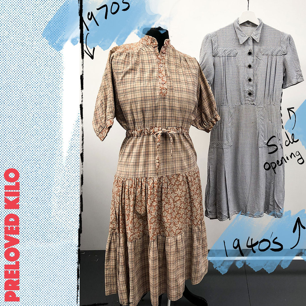 Vintage 1970s day dress with a vintage 1940s checked day dress.