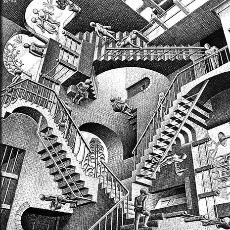 "M.C.Esher's ""relativity"" artwork"