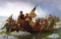 George Washington crossing river on a boat
