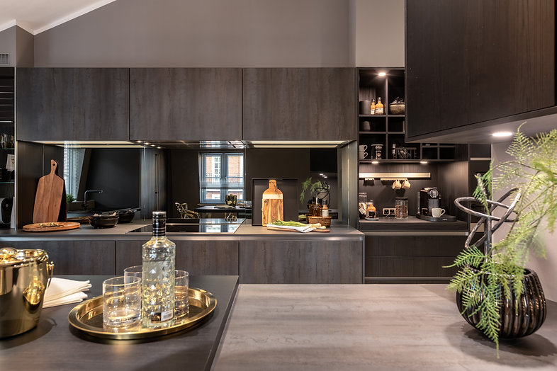 Elegant contemporary dark grey wood kitchen
