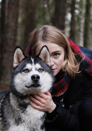 """Фотосессии в красивых лесных локациях парка с собаками из питомника северных ездовых собак """"Снежные крылья"""""""