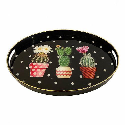 Cactus üveg felületű tálca