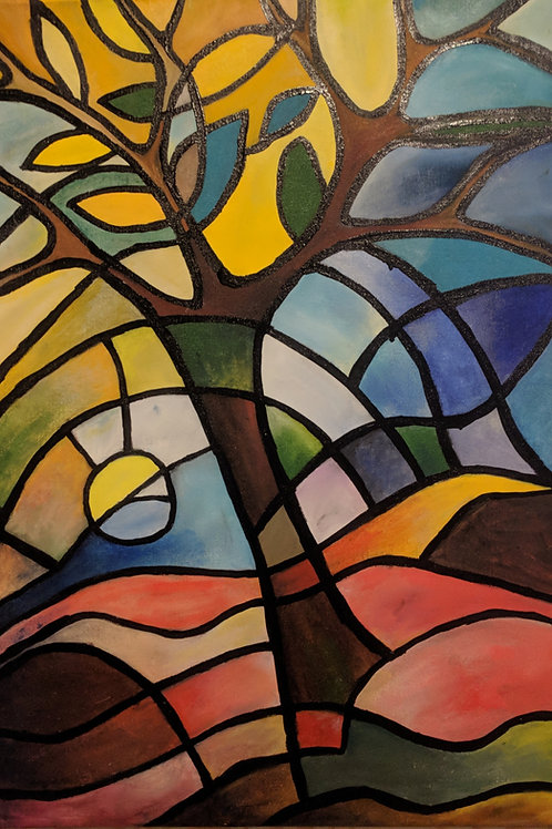 Julianna festmény - Színes fa