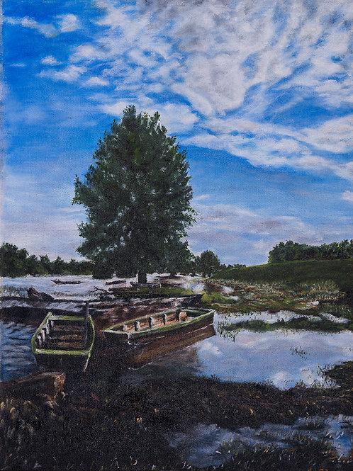 Julianna festmény - Csónakok pihenőben