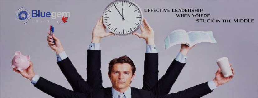 Man with multiple tasks in multiple hands, six arms with a clock approaching 12:00 held high above his head Effective Leadership When You're Stuck in The Middle Bluegem Learning