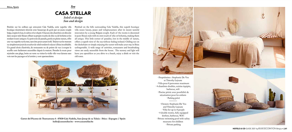 Casa Stellar featured in Elle Decoration Hotels & Co 2021