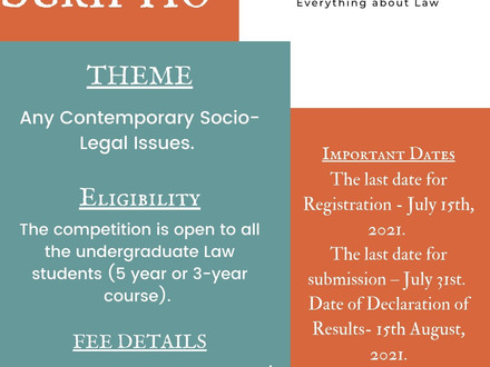 1st Legalis Scriptio Essay Writing Competition, 2021 by Indic Legal