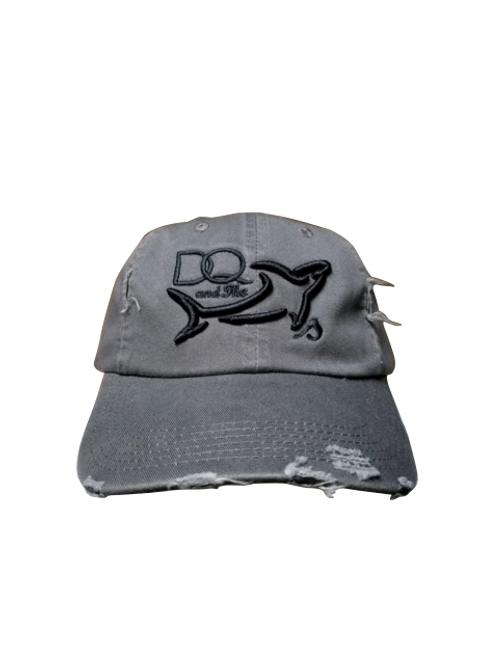Grey Weathered Hat with Black puffed Logo