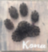 Paw print with pet name