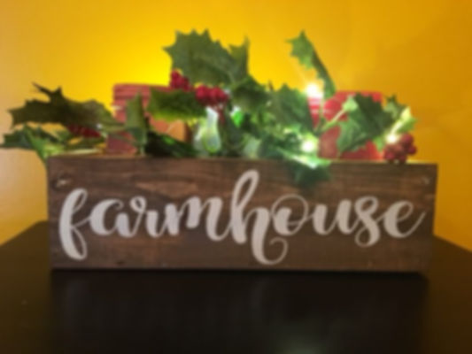"""Decorative Box with 3 Jars, 9"""" x 3"""" x 3"""", Quote choices include: Thankful, Blessed, Let it grow, Love grows here, Farmhouse, Family name and Est. year, or customize - Props and Plants are not included"""