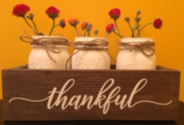 """Decorative Box with 3 Jars, 9"""" x 3"""" x 3"""" Quote choices include: Thankful, Blessed, Let it grow, Love grows here, Farmhouse, Family name and Est. year, or customize - Props and Plants not included"""