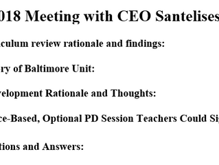 Notes from BMORE's Meeting with the CEO and CAO