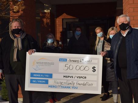 Un don inespéré de 50 000 $ de la Fondation de la famille Hagen