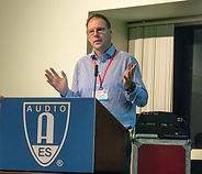 Rupert Brun delivering  talk at the Audio Engineerig Society Convention, LA