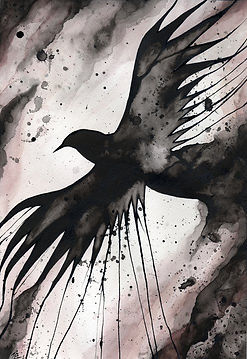 Ink splatter painting of a Raven.