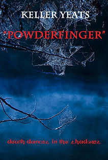 Powderfinger front cover. Blue misty lake with cobwebs.